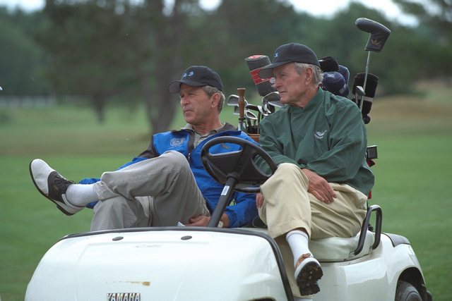 President Bush Plays Golf at Cape Arundel Golf Club with his Father, George H. W. Bush