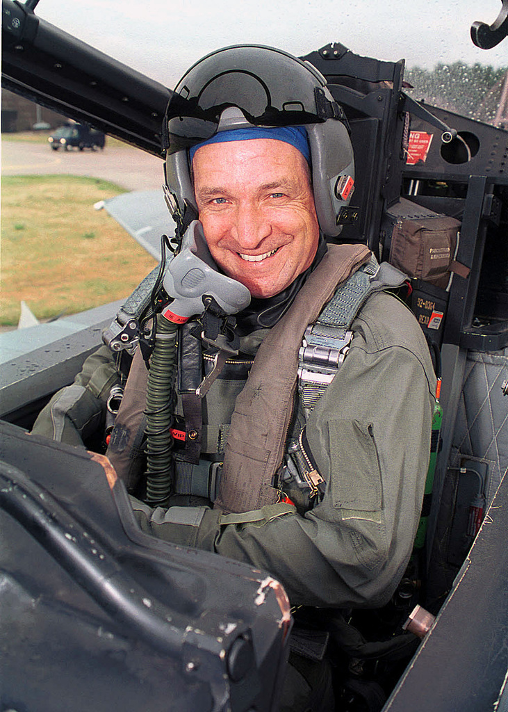 Brigadier General (BGEN) Hugh Forsythe, Individual Mobilization Augmentee (IMA) advisor to United States Air Forces in Europe (USAFE), smiles for the camera prior to his orientation ride in a F-15E Strike Eagle from the 494th Fighter Squadron, 48th Fighter Wing, Royal Air Force Lakenheath, United Kingdom. BGEN Forsythe was visiting the base to get a familiarization of the bases' mission and to be briefed on the future of the F-22 Raptor program