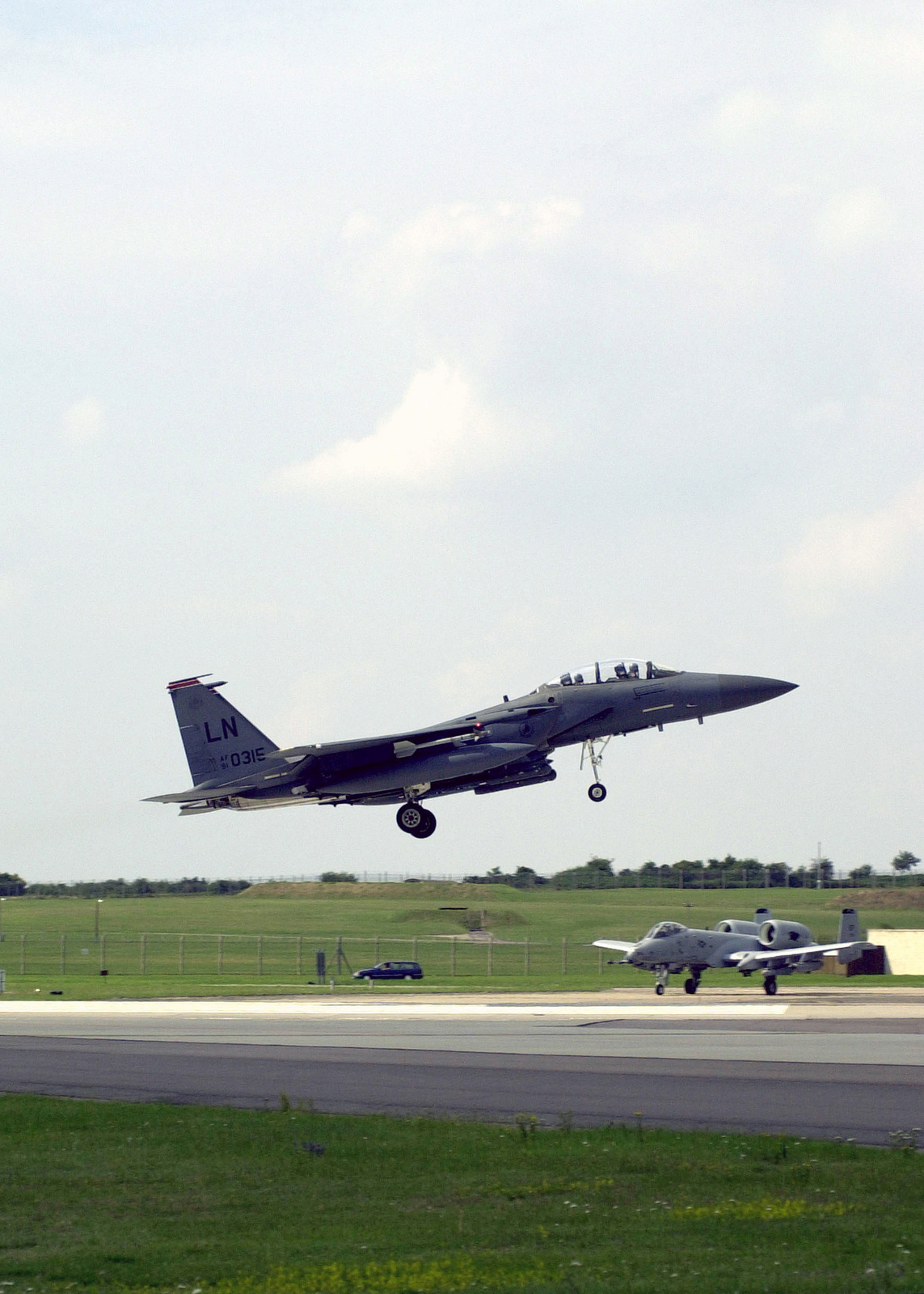 An F-15E Strike Eagle from the 494th Fighter Squadron, 48th Fighter