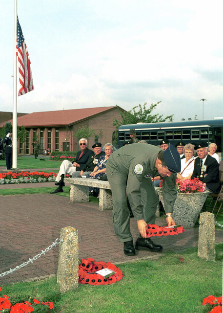 Colonel Mike Ehrlich, USAF, 48th Fighter Wing Vice-Commander, prepares to lay a wreath at the RAF Lakenheath Statue of Liberty Park memorial, honoring those who gave their lives during the Korean War. The annual Korean War Remembrance Ceremony held each year, at RAF Lakenheath, to pay tribute to service members from the United States and Great Britain who gave their lives to preserve freedom during the Korean War