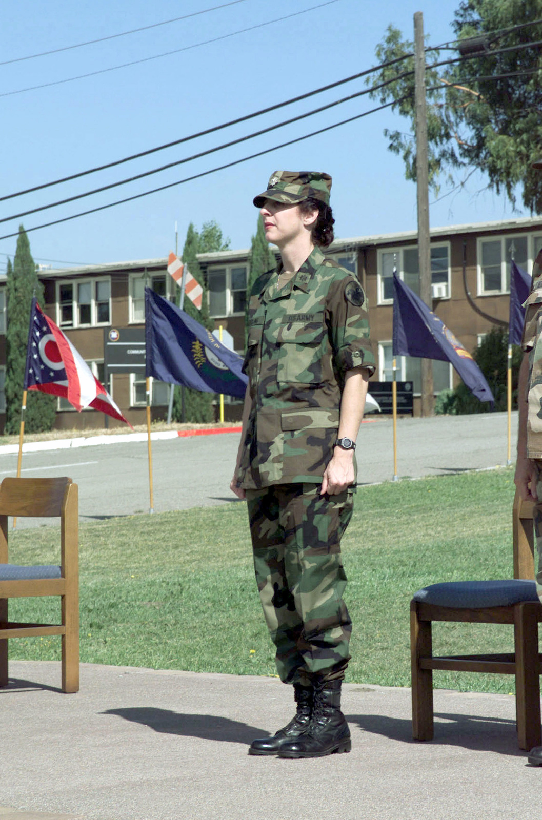 Lieutenant Colonel (LTC) DawnLee DeYoung, USA, Commander, US Army Park Reserve Forces Training Area, stands during the Change of Command Ceremony, at Camp Park, Dublin, CA