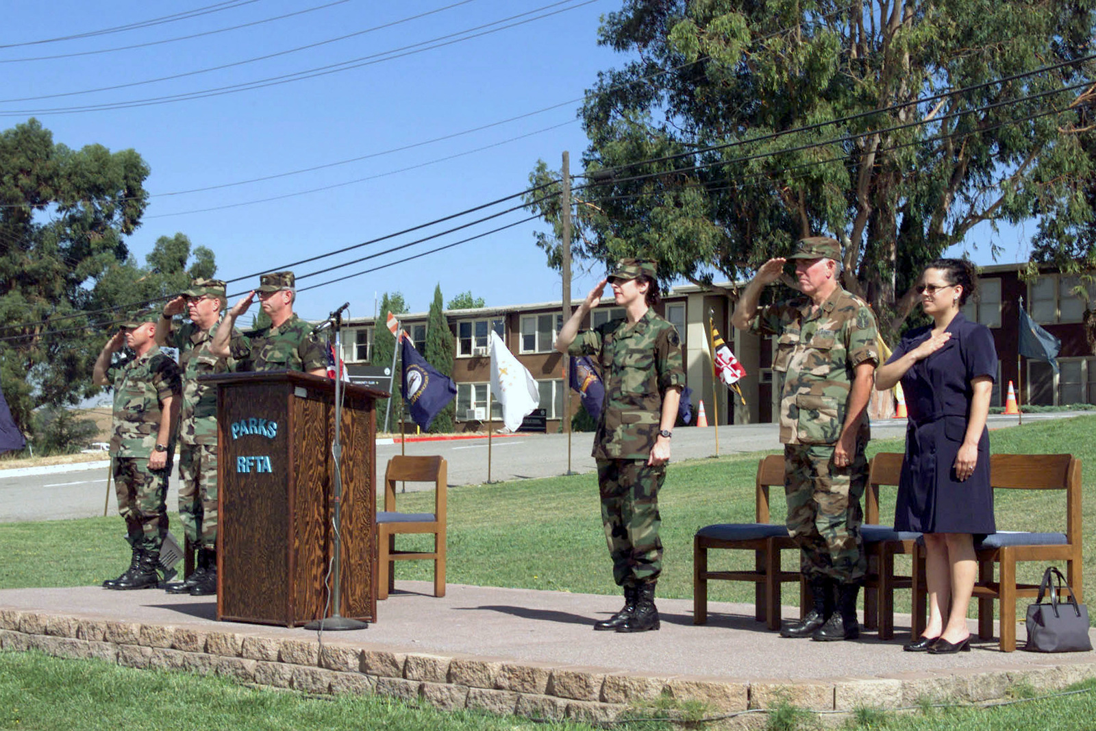 Pictured during the Change of Command Ceremony for the US Army Park Reserve Forces Training Area, Dublin, CA. (Left to right) Command Sergeant Major (CSM) Kevin P, Edwards; Outgoing Commander Lieutenant Colonel (LTC), John W. Randolph; Reviewing Officer, LTC Michael R. Staszak; Incoming Commander, LTC DawnLee DeYoung; Chaplain, LTC Richard Beach; and Ms. Dani Lorta, (Aide to Congresswoman Ellen Taucher)