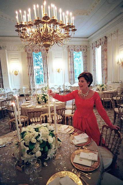 Mrs. Laura Bush Lights Candles for Mexico State Dinner