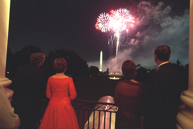 President Bush, Laura Bush, Vicente Fox, and Marta Fox Watch Fireworks from the Truman Balcony
