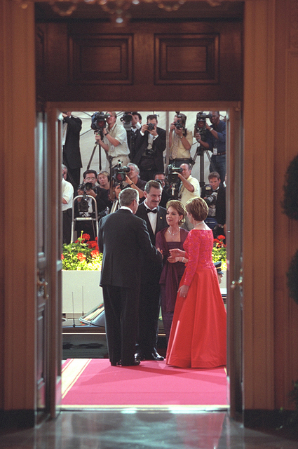 President George W. Bush and Mrs. Laura Bush Greet Mexican President Vicente Fox and His Wife Martha Sahagun de Fox
