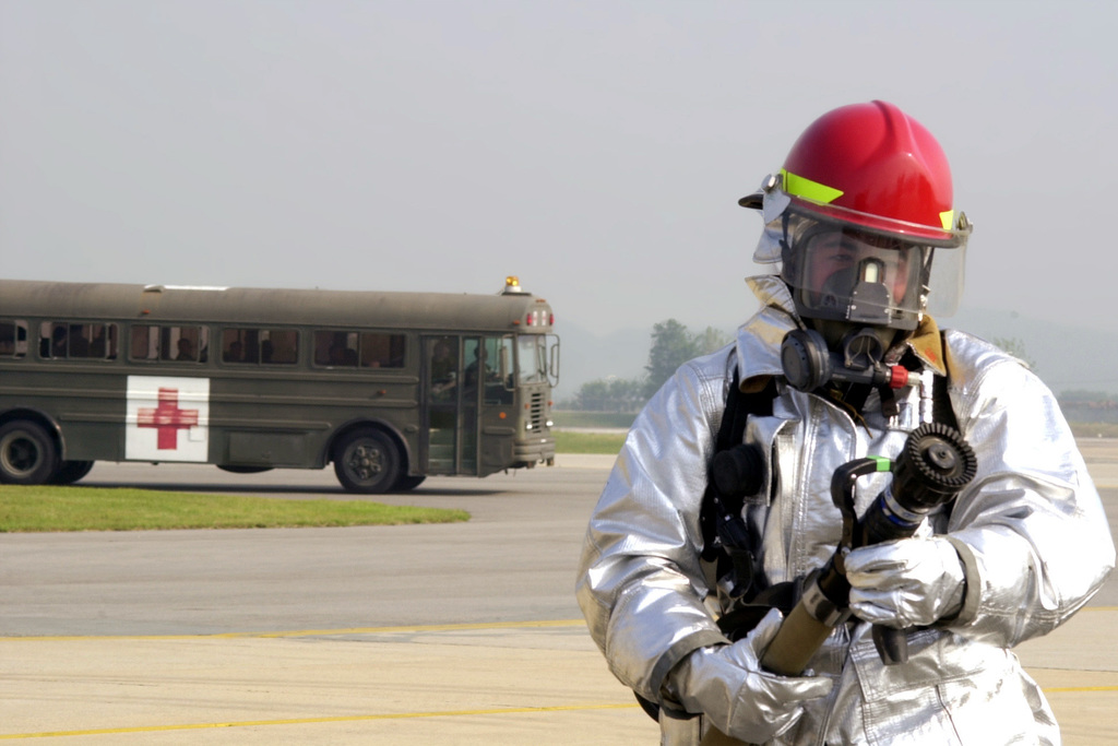 Preparing for the worse case scenario, a 51st Civil Engineer Squadron Firefighter answers the call at a MAJOR ACCIDENT RESPONSE EXERCISE (MARE) prior to Air Power Day and the arrival of the Air Force Thunderbirds at Osan Air Base, Republic of Korea. The MARE drills are held quarterly and keep base personnel ready to respond to such emergencies as air crashes, ammunition accidents and fuel spills. This particular drill coincides with the upcoming Air Show where an expected 50,000 people may attend
