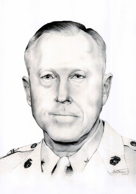 """This """"grid method""""graphite on white paper image of Brigadier General (BGEN) R. E. Parker Jr. was drawn for the Hawaii Marine newspaper. It was used for BGEN Parker's retirement story"""