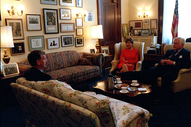911: Mrs. Laura Bush with Sen. Ted Kennedy and Sen. Judd Gregg