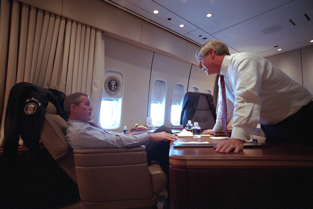 911:  President George W. Bush Confers with Andy Card aboard Air Force One