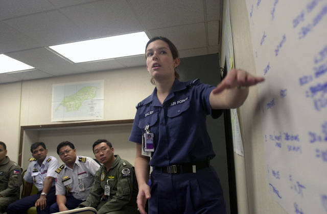 FLGOFF (Flying Officer) Melissa Dalby, 86th Wing (WG), Royal Australian Air Force, presents data for a new scenario to the squadron leaders of different countries during PACIFIC AIRLIFT RALLY 2001. PACIFIC AIRLIFT RALLY (PAR) is a PACAF-sponsored military airlift symposium for countries in the pacific region. PAR is held every two years and is hosted by a pacific nation. This year Andersen AFB, Guam is the host nation. The symposium includes informational seminars with area of expertise briefings, a command post exercise (CPX) which addresses military airlift support to a humanitarian airlift/disaster relief scenario, and a concurrent flying training program that builds upon the CPX scenario