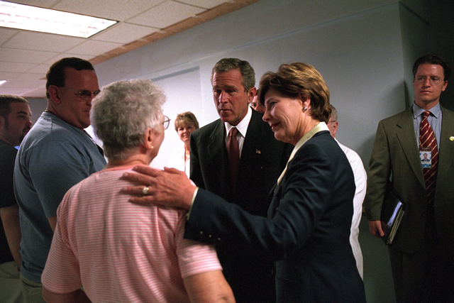 911:  President George W. Bush and First Lady Visit Hospital