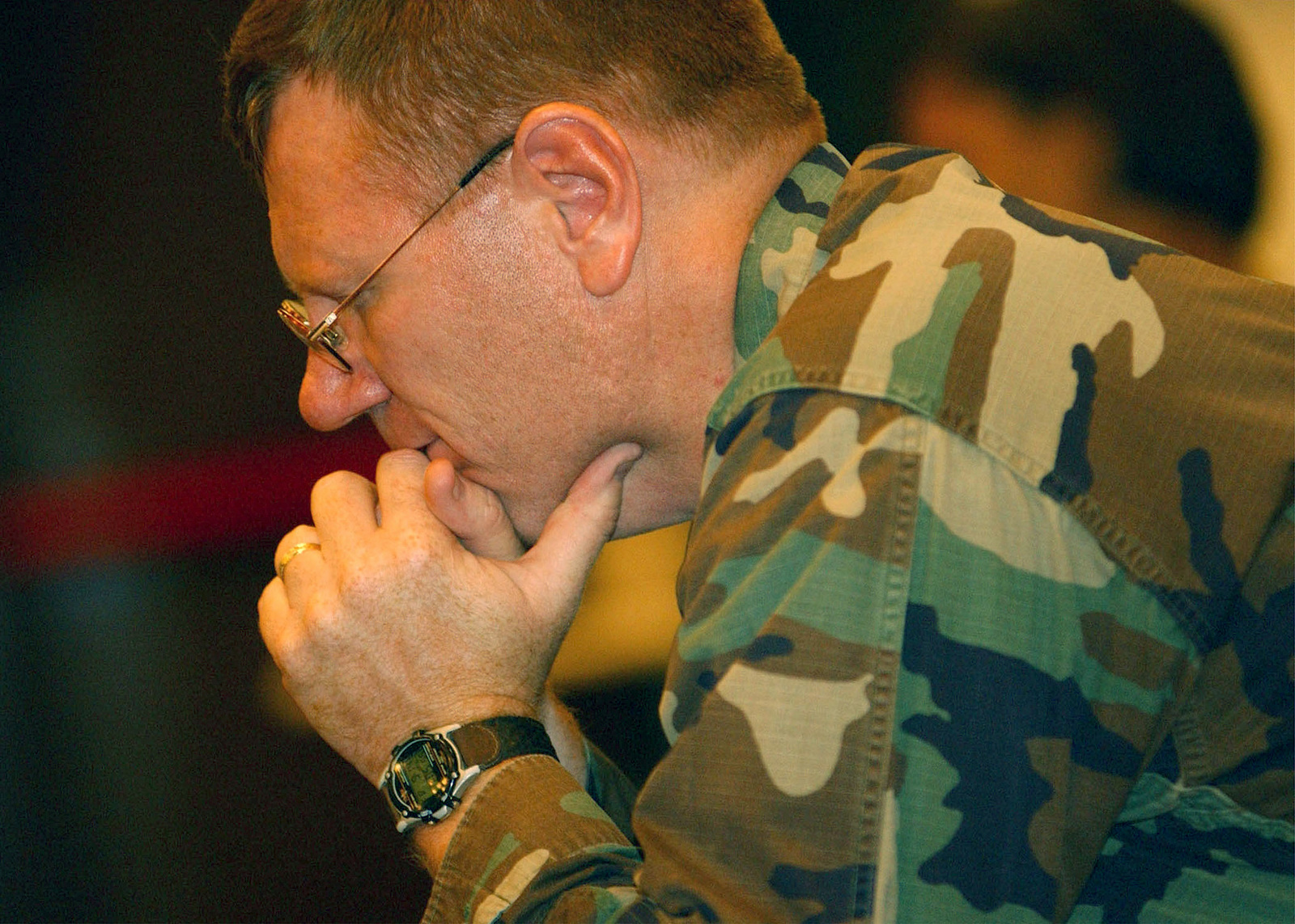 As part of President Bushs proclaimed National Day of Mourning, a military member prays during a service held at Incirlik Air Base, Turkey. The service held on September 14th, to honor the victims of the terrorist attacks on the World Trade Centers Twin Towers in New York City and at the Pentagon. Hijackers deliberately flew civilian airliners into the buildings, killing themselves, the passengers and thousands on the ground on 11 September 2001