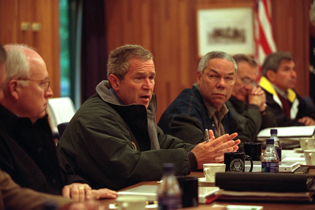 911:  President George W. Bush Meets with National Security Council at Camp David