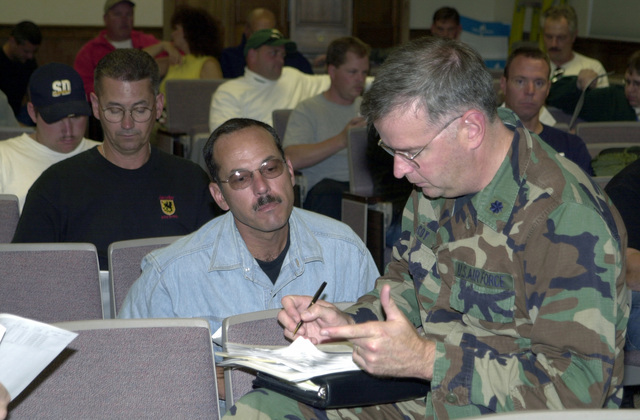 Lieutenant Colonel John McCoy, USAF, (right), of the 128th Air Refueling Wing (Wisconsin Air National Guard) personnel office goes over the final checklist with unit personnel deploying in support of Operation INFINITE JUSTICE. (Operation INFINITE JUSTICE later changed to Operation ENDURING FREEDOM)