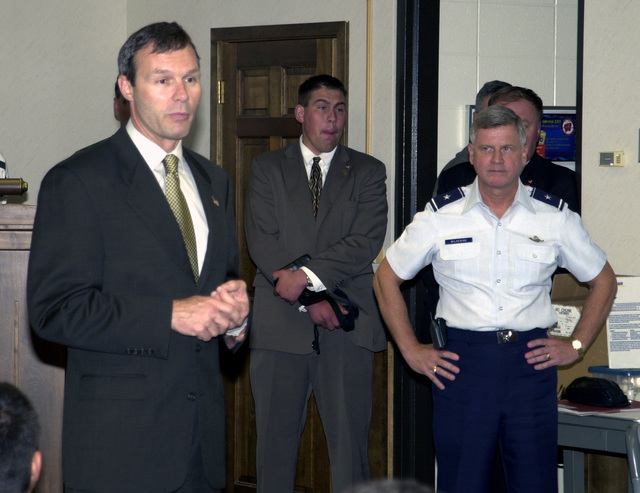Wisconsin Governor Scott McCallum and Brigadier General Al Wilkening Deputy Adjutant General, Wisconsin Air National Guard, address the members of the 128th Air Refueling Wing (Wisconsin Air National Guard) as they prepare to deploy in support of Operation INFINITE JUSTICE. (Operation INFINITE JUSTICE later changed to Operation ENDURING FREEDOM)