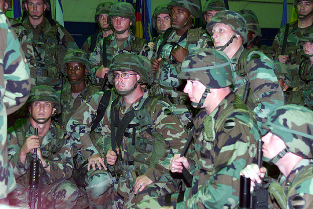 US Army (USA) Soldiers assigned to the 204th Military Police (MP) Battalion, gather for a per-deployment briefing inside the base gym, at Fort Polk, Louisiana (LA)