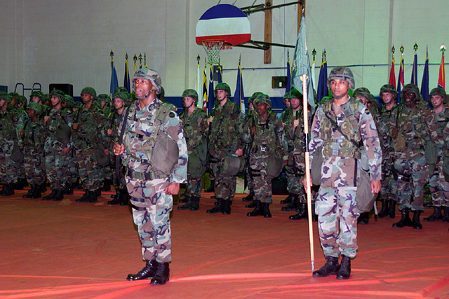 US Army (USA) Soldiers assigned to the 204th Military Police (MP) Battalion stand in formation, inside the base gym, at Fort Polk, Louisiana (LA)