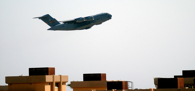 A C-17A Globemaster III takes off for another unknown forward deployed location in support of Operation ENDURING FREEDOM
