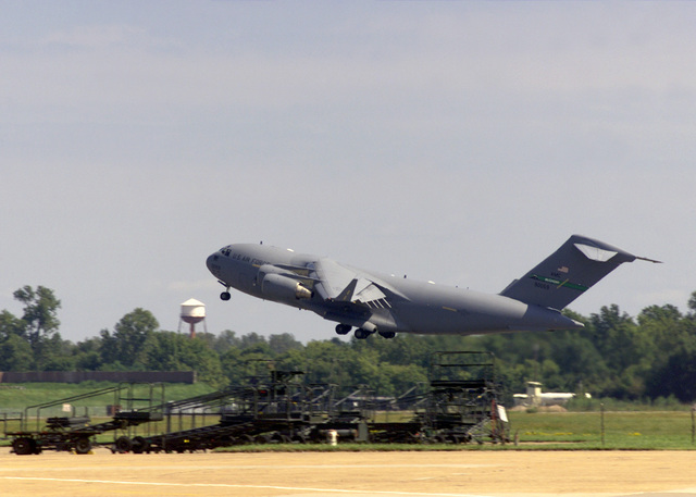 A US Air Force (USAF) C-17 Globemaster III aircraft takes off at Barksdale AFB, Louisiana (LA) in support of Operation ENDURING FREEDOM