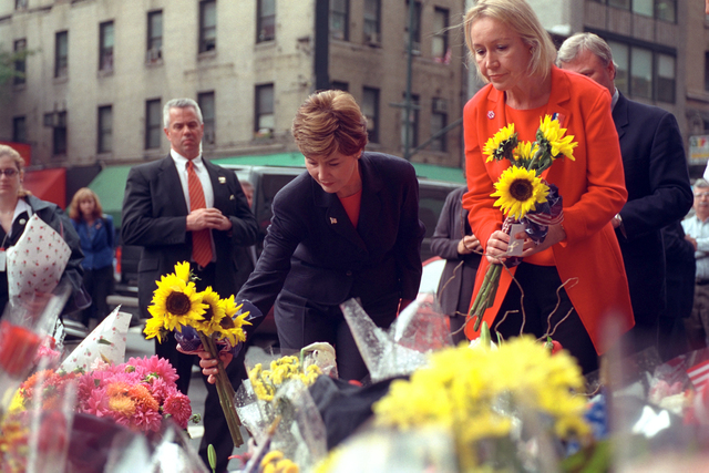 911:  Mrs. Laura  W. Bush Visits New York City Firehouse