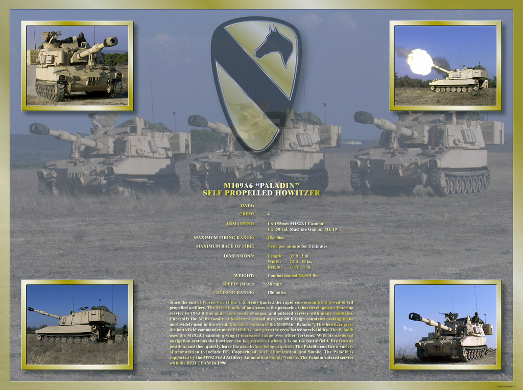 "A poster depicting the 1ST Cavalry Divisions 155mm M109A6 ""PALADIN"" SELF PROPELLED HOWITZER"