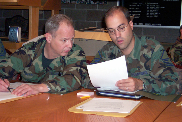 Captain Kevin Bowman, USAF, (left) and MASTER Sergeant Kelly Cummings, USAF, 148th Medical Squadron, Minnesota Air National Guard review information in their Personnel Readiness Folders, prior to reporting to the mobility line. Members of the Wing's Medical Squadron received the call to support Operation ENDURING FREEDOM