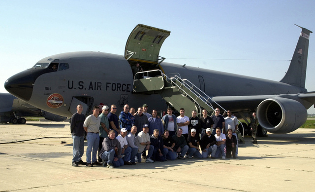 Members of the 128th Air Refueling Wing (ARW) Security Forces Squadron (SFS), Wisconsin Air National Guard, gather for a group photograph in front of a KC-135R Stratotanker before deploying in support of Operation ENDURING FREEDOM