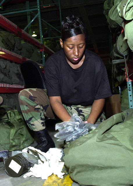US Air Force (USAF) AIRMAN (AMN) Dana Worley, 18th Logistics Readiness Squadron (LGRS), Provisional (P), takes inventory of a chemical deployment kit at Kadena AB, Japan during Operation ENDURING FREEDOM