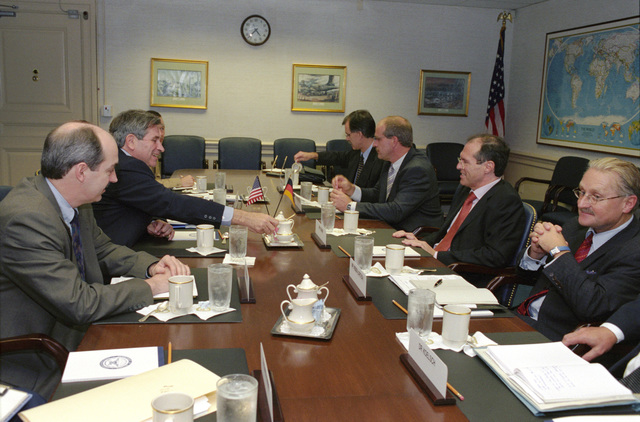 The Honorable Paul Wolfowitz (left), U.S. Deputy Secretary of Defense, (2nd left), and his staff meet with German National Security Advisor Michael Steiner (2nd right), and his staff at the Pentagon, Washington, D.C., on Oct. 3, 2001.  OSD Package No. A07D-00713 (DoD photo by Ms. Helene C. Stikkel) (Released)
