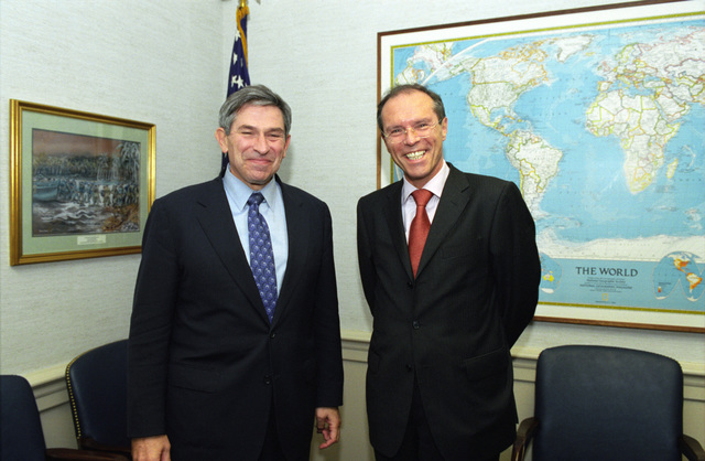 The Honorable Paul Wolfowitz (left), U.S. Deputy Secretary of Defense, and German National Security Advisor Michael Steiner (right), pose for a photograph at the Pentagon, Washington, D.C., on Oct. 3, 2001.  OSD Package No. A07D-00713 (DoD photo by Ms. Helene C. Stikkel) (Released)