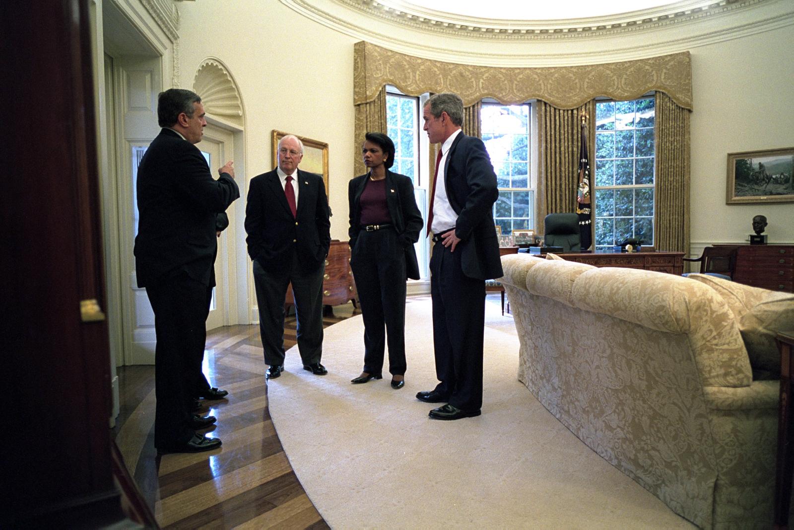 george bush oval office. 911: President George W. Bush With Senior Officials In Oval Office George Bush Oval Office