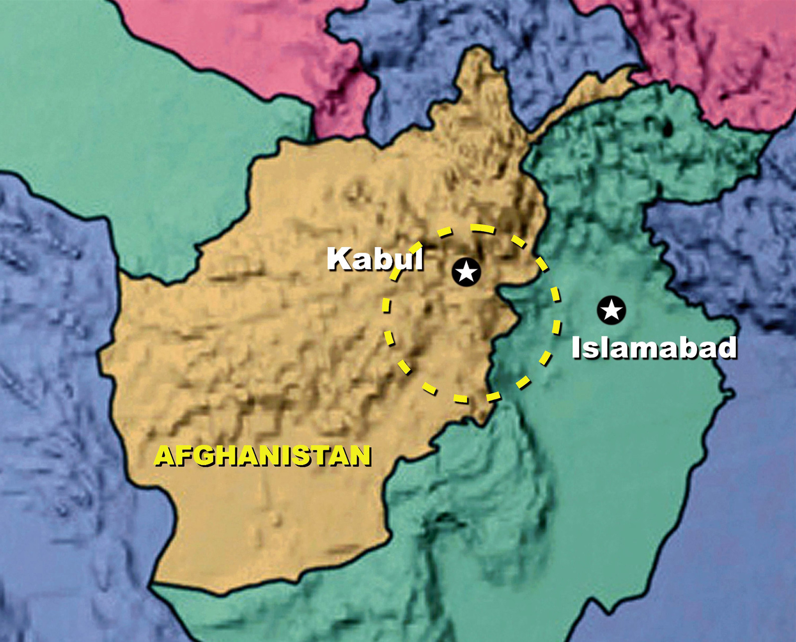 Map of Afghanistan outlining the general area where Humanitarian ...