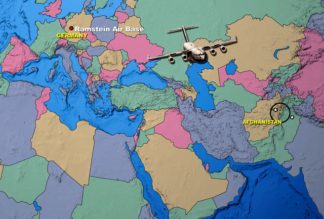 Overview map of Europe and Middle East outlining the general area where Humanitarian Daily Rations (HDR) food aid was air dropped by C-17 Globemaster IIIs flying out of Ramstein AB, Germany. The containers were airdropped on October 7th over eastern Afghanistan as part of Operation ENDURING FREEDOM. Image by TSgt Lee Phillips II