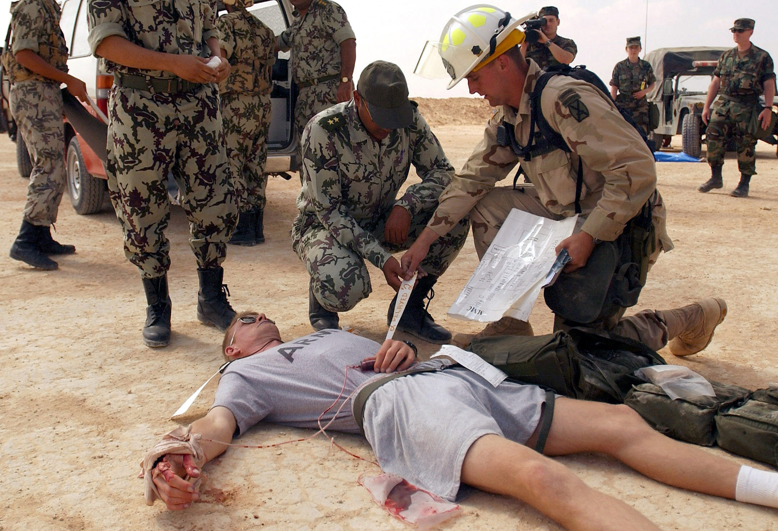 During a BRIGHT STAR mass-casualties exercise, an Egyptian