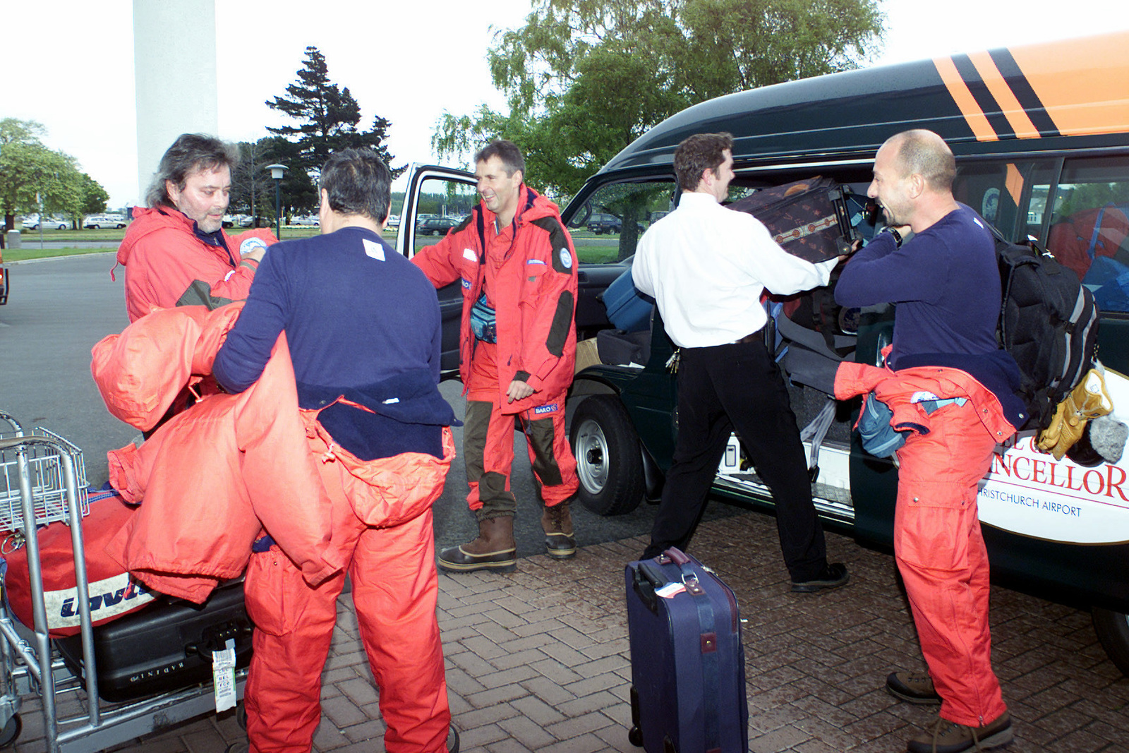 Members of the Italian National Antarctic Research Program, (PNRA), load their baggage into the hotels transport as they ready for departure from Christchurch, New Zealand, to the South Pole for a four month stay. They are participating in the United States Antarctic Program under the Authority for New Technologies, Energy and Environment, (ENEA), and will board a C-141 Starlifter Aircraft out of Christchurch to the ice of Antarctica during Operation DEEP FREEZE 2001