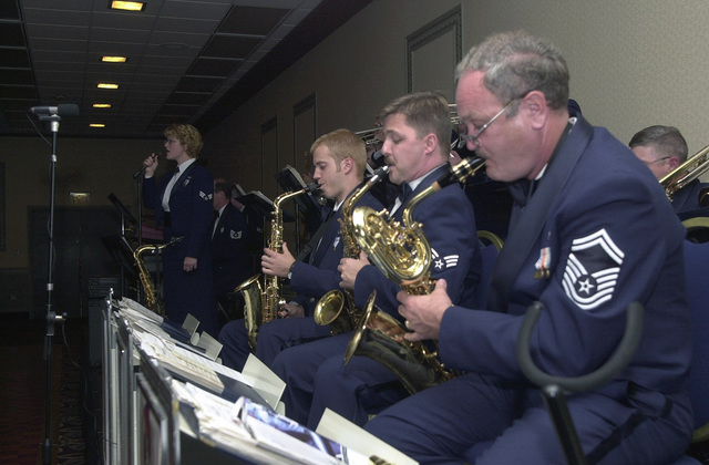 At the 193rd Dining Out, The Jazz Band from the 553rd Air National Guard Band of the Mid Atlantic entertains members of the 193rd Special Operations Wing