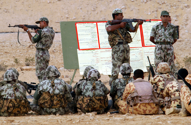 Egyptian Soldiers demonstrate the Misr 7.62mm (Soviet AKM, AK-47) assault rifle during a small arms training class at a firing range just outside of Mubarak Military City in Egypt, part of Exercise BRIGHT STAR 01/02. BRIGHT STAR 01/02 is a multinational exercise involving more than 74,000 troops from 44 countries that enhances regional stability and military-to-military cooperation among our key allies, and our regional partners. It prepares US Central Command to rapidly deploy and employ the forces needed to deter aggressors and, if necessary, fight and win side-by-side with our allies and regional partners