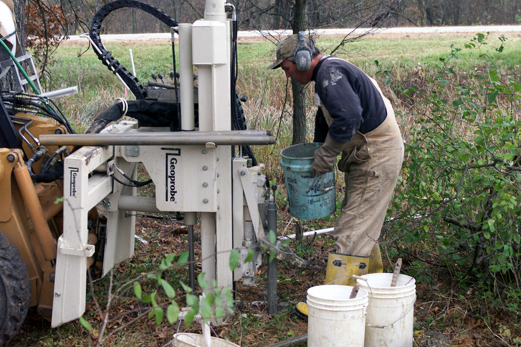 Mr. David Pulson uses a hydraulic-powered Geoprobe machine to take soil samples at Petroleum, Oil and Lubricants (POL) Site #6, at Fort McCoy, Wisconsin
