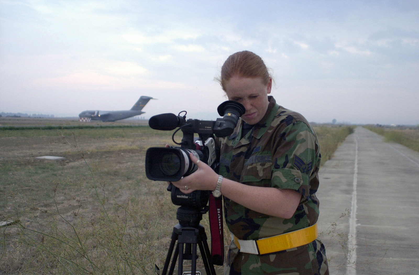 SENIOR AIRMAN Channa Johnson, US Air Force (USAF), videographer, 786th Communications Squadron, Ramstein Air Base, Germany, documents dawn takeoffs at Naval Air Station (NAS) Sigonella, Italy, during Operation ENDURING FREEDOM. In response to the terrorist attacks on September 11, 2001 at the New York World Trade Center and the Pentagon, President George W. Bush initiated Operation ENDURING FREEDOM in support of the Global War on Terrorism (GWOT), fighting terrorism abroad