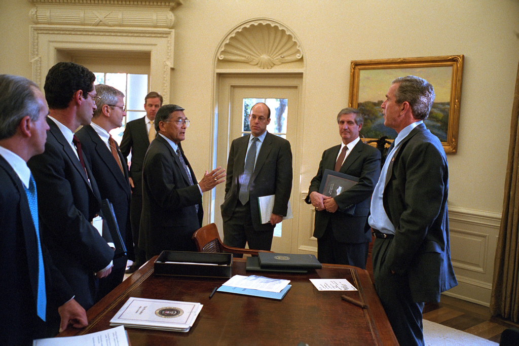 911:  President George W. Bush with Senior Officials in Oval Office