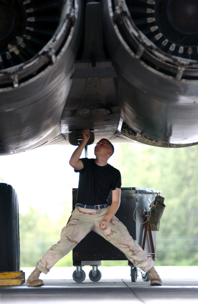 An Air Force Crew CHIEF from the 28th Air Expeditionary Wing, checks the auxiliary power unit on a B-1B Lancer bomber engine, during Operation ENDURING FREEDOM. Air Force B-2 Spirit, B-1 Lancer, and B-52 Stratofortress, bombers expended more than 80 percent of the tonnage dropped on combat missions over Afghanistan to date. The Air Force flew more than 600 sorties including strike missions against al Qaeda and Taliban targets in Afghanistan. These targets include early-warning radar systems, ground forces, Command-and-Control facilities, al Qaeda infrastructure, airfields and aircraft. Operation ENDURING FREEDOM is in support of the Global War on Terrorism (GWOT), fighting terrorism abroad