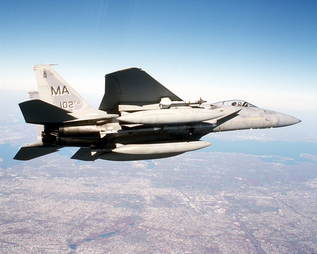 An F-15 Eagle from the 102nd Fighter Wing, Otis, Massachusetts, Air National Guard (ANG), provides Combat Air Patrol (CAP) over New York City during Operation NOBEL EAGLE
