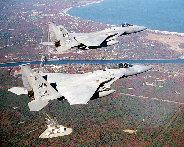 F-15 Eagles from the 102nd Fighter Wing, Otis, Massachusetts, Air National Guard (ANG), fly over Cape Cod, after a Combat Air Patrol (CAP) over New York City during Operation NOBEL EAGLE