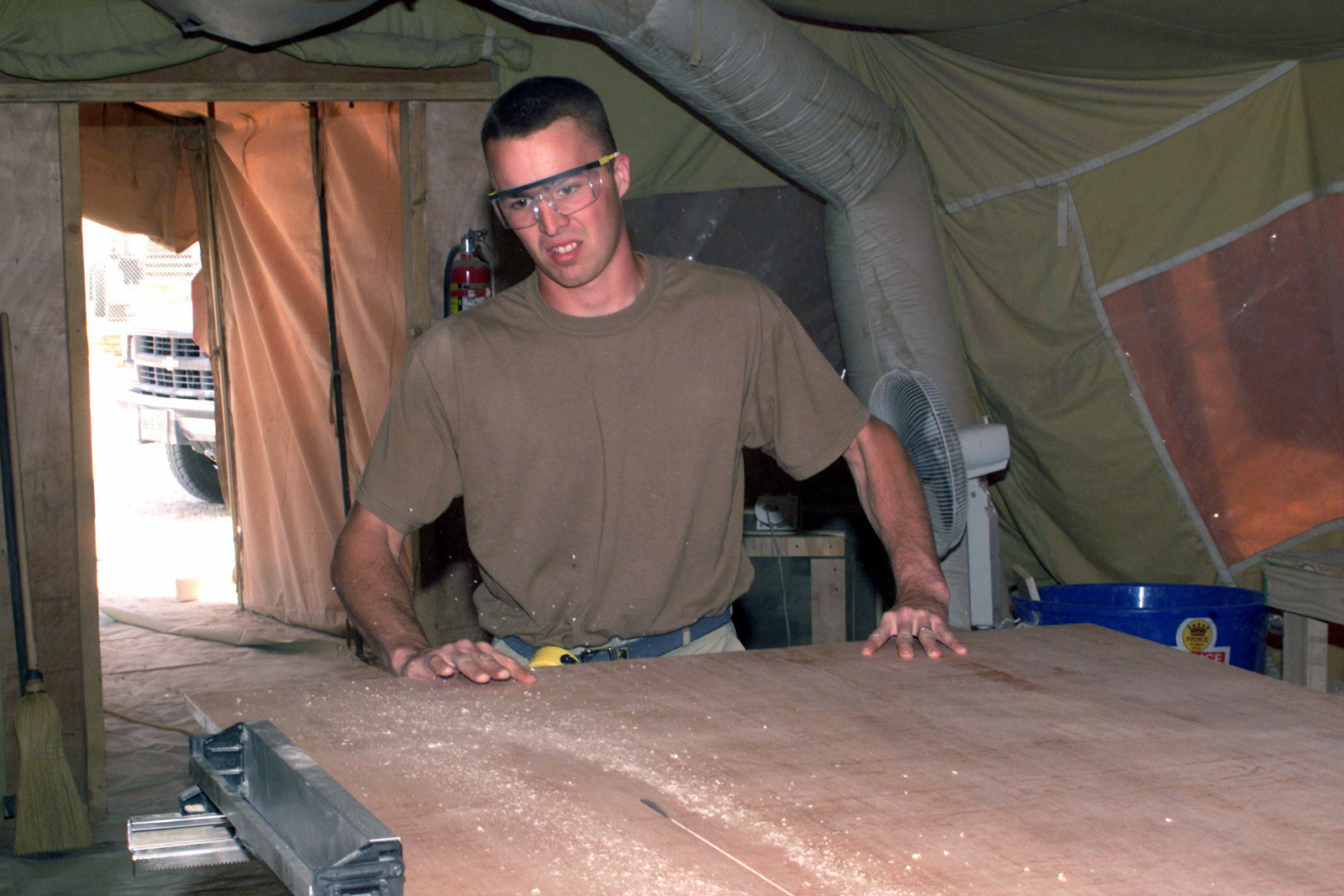 Inside a TEMPER (Tent, Extendable, Modular, Personnel) tent