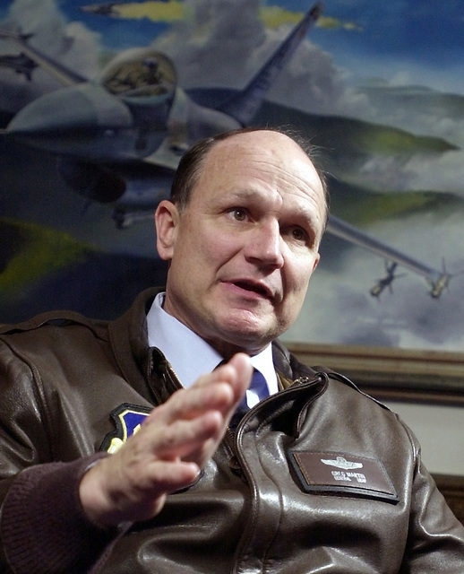 US Air Force (USAF) General (GEN) Gregory S. Martin, Commander, US Air Forces in Europe (USAFE) photographed during an interview, at the Pentagon in Washington, D.C