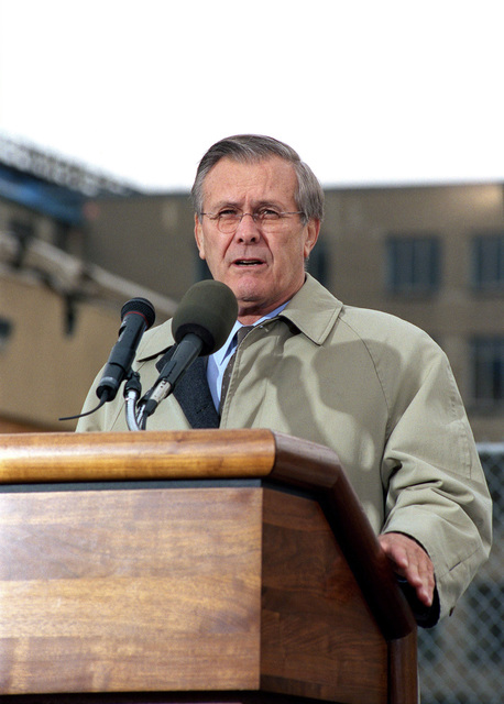 The Honorable Donald H. Rumsfeld, U.S. Secretary of Defense, addresses the audience during a ceremony in remembrance of those who perished in the terrorist attack on Sep. 11, 2001, outside the Pentagon, Washington D.C., on Dec. 11, 2001.(DoD photo by Robert D. Ward) (Released)