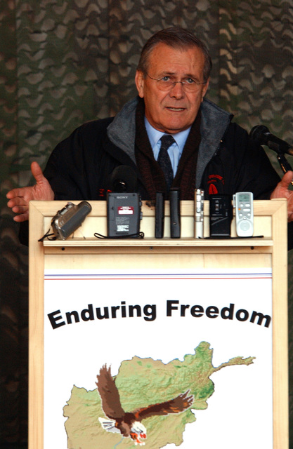 The Honorable Donald H. Rumsfeld, U.S. Secretary of Defense speaks to members of Camp Stronghold Freedom, Uzbekistan during Operation Enduring Freedom. (U.S. Air Force photo by STAFF SGT. Steven Pearsall) (Released)