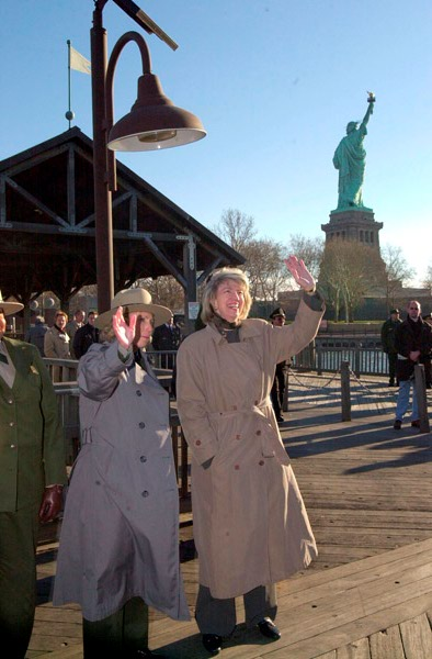 Photograph, from coverage of Secretary's visit to the Statue of Liberty Monument, New York City, selected for use in preparation of Department of Interior video on tenure of departing Secretary Gale Norton