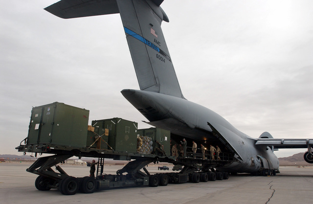 Members of 820th RED HORSE Squadron (RHS), Nellis AFB, Nevada, use a 40K-Loader and a TUNNER 60K-Loader to load equipment and material onto a C-5 Galaxy, 60th Air Mobility Wing (AMW), Travis AFB, California, for a deployment in support of Operation ENDURING FREEDOM. RED HORSE is a self-sufficient mobile squadron capable of rapid response and independent operations in remote, high-threat environments worldwide