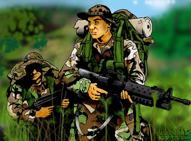 A drawing of US Marine Corps (USMC) Sergeant (SGT) Donnie J. Farmer (right), a rifleman team leader and Lance Corporal (LCPL) Guy McLeaner (left), USMC, a machine gunner, 1ST Battalion, 4th Regiment, 1ST Marine Division. This image was drawn in Pen and Ink then scanned into a computer and colored with Adobe Photoshop by SGT Kenneth E. Farmer, USMC, Combat Visual Information Center, Marine Corps Base (MCB) Quantico, Virginia